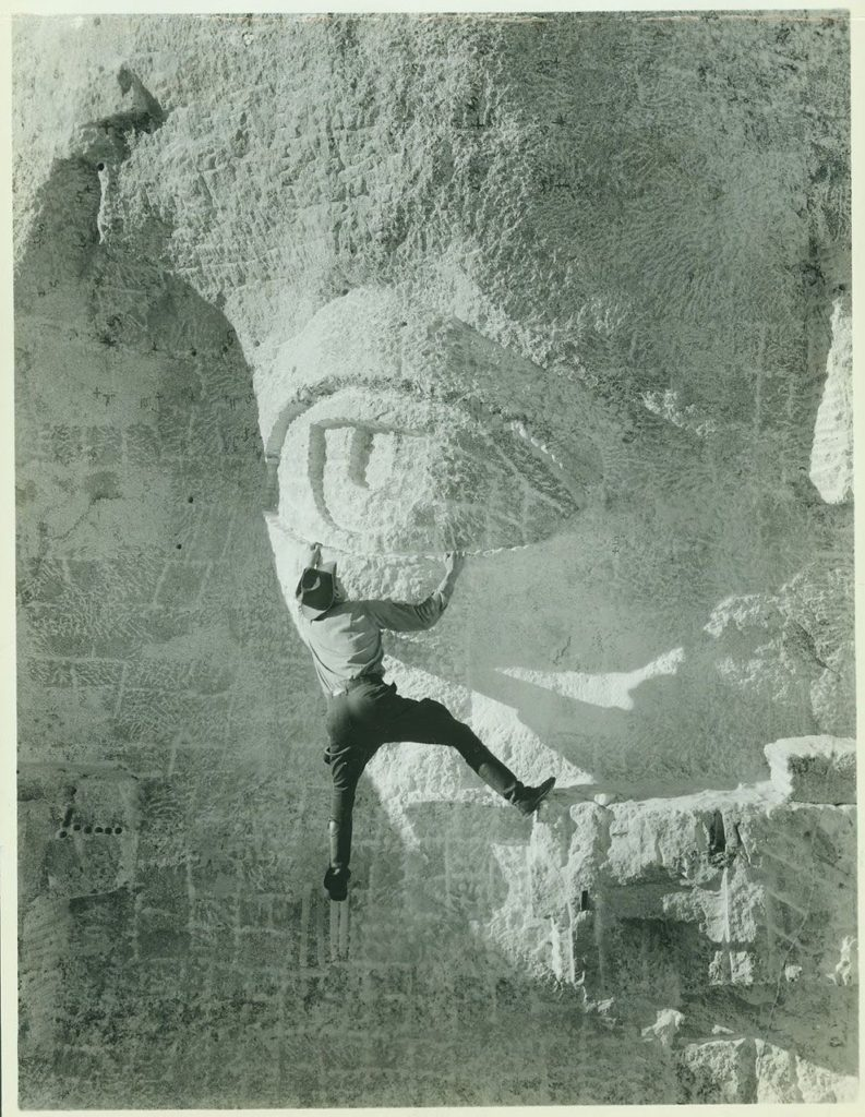 1930 carving the eye of mount rushmore 793x1024 - 1930 – Carving the Eye of Mount Rushmore