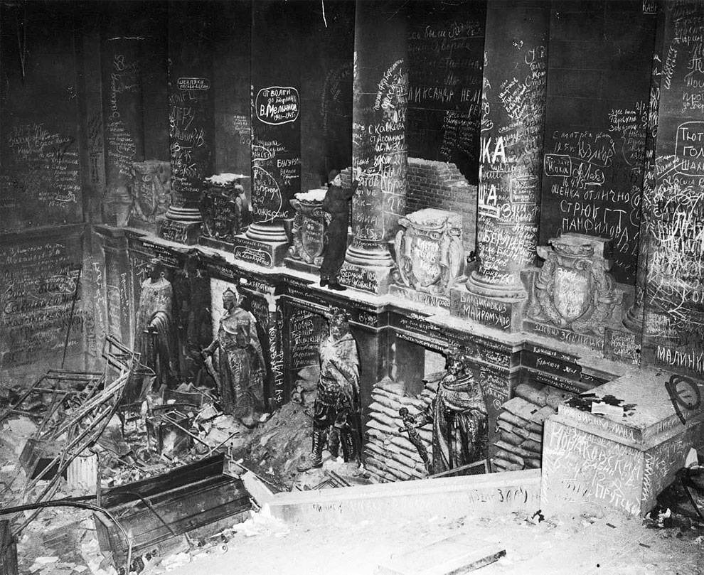 1945 soviet troops have scrawled graffiti in the reichstag after they took berlin - 1945 – Soviet troops have scrawled graffiti in the Reichstag after they took Berlin.