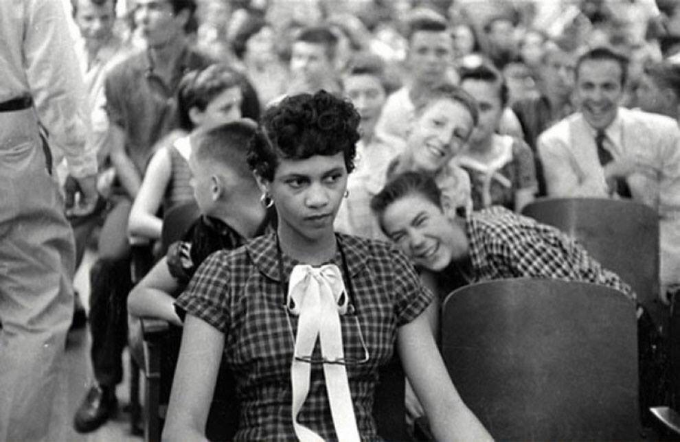 1957 in this picture dorothy counts the first black girl to attend an all white school in the united states is being teased and taunted by her white male peers at charlottes harry - 1957 – In this picture, Dorothy Counts, the first black girl to attend an all white school in the United States is being teased and taunted by her white male peers at Charlotte's Harry Harding High School.