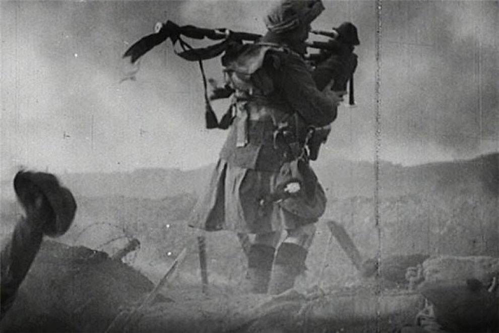 this photo shows a scottish piper in a kilt on the battlefield during world war i - This photo shows a Scottish piper in a Kilt on the battlefield during World War I.